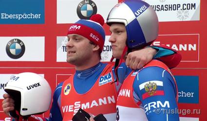Саночники Роман Репилов и Семён Павличенко взяли золото и серебро на этапе Кубка мира в США