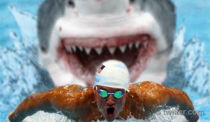 Майкл Фелпс проиграл белой акуле в заплыве на 100 метров (видео)